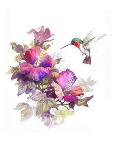Hummingbird and Violets print of Watercolor Painting - Nature, Flowers, Birds, Peaceful Gifts, Gift for Ladies Watercolor Hummingbird, Hummingbird Tattoo, Humming Bird Watercolor, Watercolor Paintings Nature, Watercolor Images, Bird And Flower Tattoo, Flower Art, Tatoo Art, Tattoo Ink