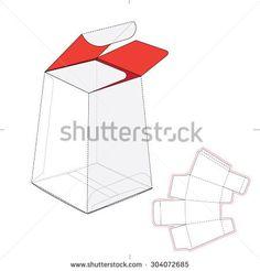 Tapered tube box wirh blueprint die line