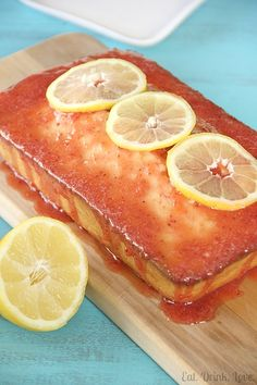 Low-Fat Lemon Pound Cake with Strawberry Glaze