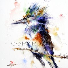 """KINGFISHER 8 x 12"""" Watercolor Print. by Dean Crouser"""