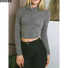 Women 2 Colors Turtleneck Silm Tight Knitted Cropped Sweater Long Sleeve Sexy New Fashion Short Jumper Pullover