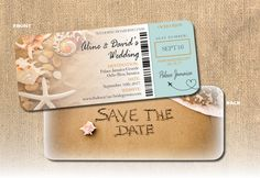 Beach boarding pass save the date with save the date written in the sand on the back of the ticket boarding pass. Coral shells with white starfish on the beach in background with turquoise panel at right. Airplane forming a heart pointing to the resort destination.  Save the date boarding pass is 9x4 printed on 100 lb. light coated card stock for good durability. Comes with cream envelopes. Minimum print order of 20 sets (invite/envelope) x $5/set. Pricing per set decreases with quantities…