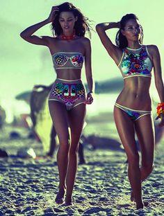 Swimwear: colorful two piece see through patterned bikini high neck highwaisted shorts mesh metallic