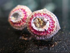 Pink spinel and diamond earrings. Pink Tourmaline, Ivy, Diamond Earrings, Photo And Video, Instagram Posts, Gold, Jewelry, Kawaii, Collection