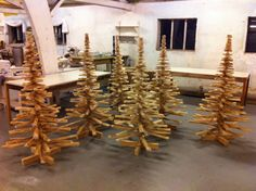 Wooden Christmas tree forrest