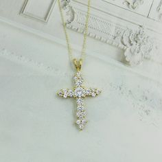 BEAUTIFUL NECKLACE! CROSS CUBIC ZIRCONIA STERLING SILVER GOLD TONE PENDANT & ROLO CHAIN 18""