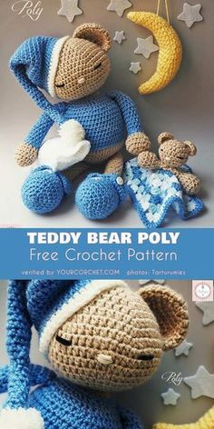 Teddy Bear Poly Free Crochet Pattern Amigurumi Crochet Toys This teddy bear will be loved by anyone who gets one. I'm sure you will like this project and will be proud of your final Crochet Teddy Bear Pattern Free, Teddy Bear Patterns Free, Newborn Crochet Patterns, Crochet Amigurumi Free Patterns, Crochet Doll Pattern, Crochet Teddy Bears, Knitting Patterns, Crochet Gratis, Free Crochet