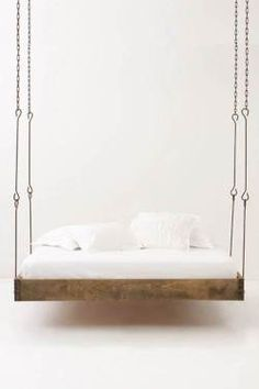 ONE DAY, I will have a hanging bed somewhere in my home. Barnwood Hanging Bed from Anthropologie. Suspended Bed, Floating Bed, Hanging Beds, Hanging Chairs, Diy Hanging, Cool Beds, My New Room, Barn Wood, My Dream Home