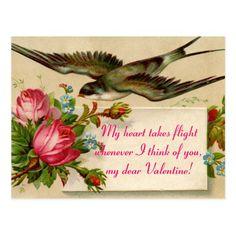 Vintage Valentine's Day  My Heart Takes...Postcard