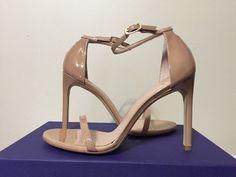 Stuart Weitzman Nudist song Adobe Aniline Tan Patent Leather Heels Sandals 7.5 W #StuartWeitzman #FashionHeelsSandalsAnkleStrap