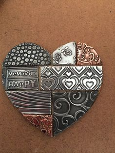 Mosaic style heart made at The Pewter Room Aluminum Foil Art, Aluminum Can Crafts, Metal Crafts, Pewter Art, Pewter Metal, Feuille Aluminium Art, Metal Tape Art, Metal Embossing, Tin Art