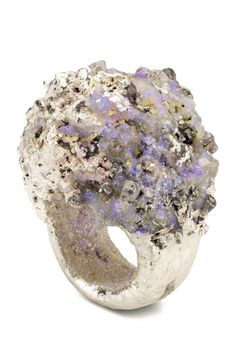 Maud Traon. 'The Frozen Planet' Ring, Rough diamonds, silver plated resin