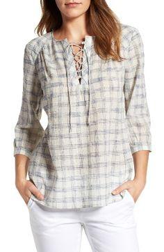 Caslon® Print Lace-Up Peasant Top Short Kurti Designs, Kurta Designs, Blouse Designs, Dress Neck Designs, Designs For Dresses, Peasant Tops, Tunic Tops, Peasant Blouse, Short Tops