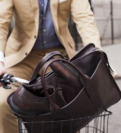 Chocolate Leather Briefcase by Lotuff