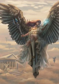 The goddess' heaven, Felicia Supangkat Fantasy Art Angels, Gothic Fantasy Art, Fantasy Girl, Angel Artwork, Angels And Demons, Angels And Fairies, Anime Angel Girl, Angel Warrior, Angel Pictures