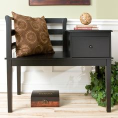 Black Cottage Gossip Bench at the Foundary >> So cute, love the drawer!