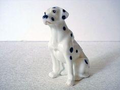 Dollhouse Miniatures 2 Vtg Painted Pewter Cast Dogs Black White Dalmatian