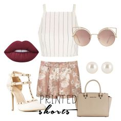 """""""pink matter"""" by gabsiiee ❤ liked on Polyvore featuring MANGO, Topshop, Wild Diva, Michael Kors, Lime Crime, Henri Bendel and printedshorts"""