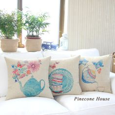 Watercolor sofa back cushion pillow fresh chinese style ofhead sofa cushion thick fluid pillow cover US $14.69