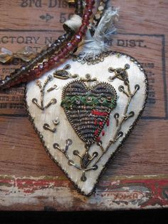 heartful  antique silk French religious heart by RedbirdJewelry, $198.00