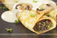 Crepes with Beef & Mushroom Stroganoff Bariatric Eating, Bariatric Recipes, Rib Recipes, Cooking Recipes, Healthy Recipes, Locarb Recipes, Cooking Ideas, Lunch Recipes, Food Ideas
