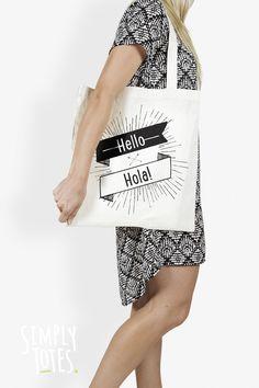 Say Hello: www.simplytotes.co.nz Say Hello, Totes, Reusable Tote Bags, Sayings, Products, Fashion, Moda, Lyrics, Fashion Styles