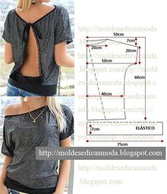 Open back tunic dolman diy top Moldes Moda por Medida Diy Clothing, Sewing Clothes, Clothing Patterns, Dress Patterns, Sewing Patterns, Easy Patterns, Doily Patterns, Sewing Tutorials, Sewing Ideas