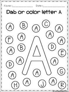 Free alphabet dab (a-z) kindergarten activities, educational activities, learning activities, alphabet Printable Preschool Worksheets, Alphabet Worksheets, Worksheets For Kids, A Alphabet, Free Alphabet Printables, Lkg Worksheets, Printable Shapes, Shapes Worksheets, Alphabet Games