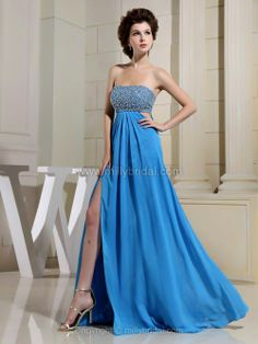 Empire Strapless Chiffon Floor-length Split Front Prom Dresses