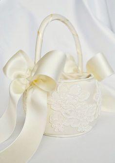 Cesta de la muchacha de flor marfil cesta de por weddingsandsuch
