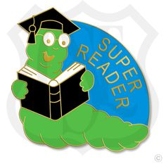 "Super Reader - 7/8"" Lapel Pin  in Gold Finish."