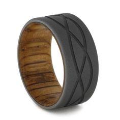 Milled Tri-Wave Design Sandblasted Titanium Oak Wood Ring