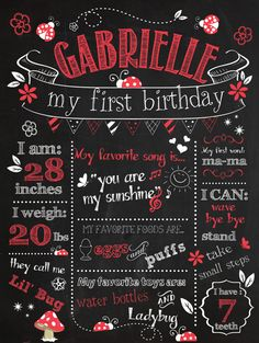 Customizable Printable First Birthday Chalkboard Poster - Ladybug Birthday Chalkboard Poster on Etsy, $15.00