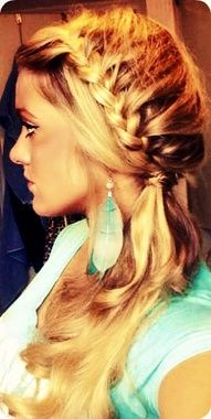 Half french braid on the side. This is done by simply creating a french braid on the side of your head and only pulling hair into the braid from one half