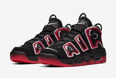 Nike Air More Uptempo Laser Crimson Release Links - Kicks Links Latest Nike Sneakers, Sneakers Fashion, Sneakers Nike, Me Too Shoes, Men's Shoes, Nike Air Uptempo, Zapatillas Nike Air, Hype Shoes, Black Nikes