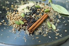 Garam Masala  Gear:  Mortar or Spice blender (I use a tiny food processor that works miracles)  Ingredients:  3 Tb. coriander seeds 3 Tb. cumin seeds 4 tsp. peppercorns 2 pieces dried ginger 1 Tb. green cardamom pods 3 whole star anise 2 tsp. cloves 2 cinnamon sticks 2 bay leaves 1 whole (small) nutmeg