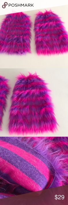 Nwot furry monster Halloween boot cover/leg warmer By the store Yandy raspberry pink and purple furry boot covers or as leg warmers purchased with the monster Halloween costume never worn Yandy Accessories Hosiery & Socks