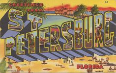 Greetings from St Petersburg Florida large letter vintage postcard