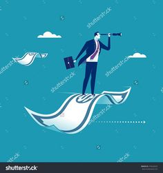Investment. Businessman flying on a banknote. Business concept illustration.