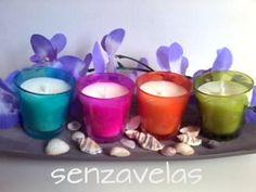 Velas de colores hechas con cera de soja
