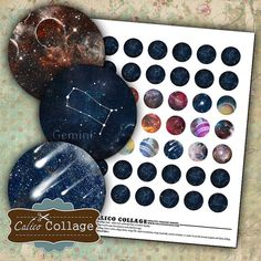 Galaxy Zodiac Digital Collage Sheet 1 inch by calicocollage