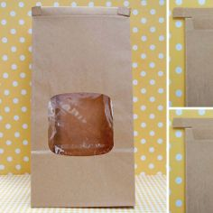 Brown Window Tin Tie Bakery Bags 1lb from Layer Cake Shop!  Heavy Duty windowed bakery bags for packaging your pretty home baked gifts! Keeps goodies fresh with a resealable tin tie closure and clear laminated interior. Gusseted flat bottom and generous sized window makes for a lovely presentation!  #packaging #cookies