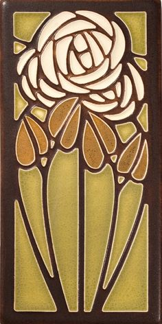 Motawi Tea Rose tile in Olive Idea for stained glass door panel
