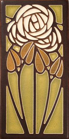 Motawi Tea Rose tile in Olive