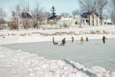"""""""Blue Earth skating pond, This slide by Hubert Tuttle opens the winter edition of Minnesota Kodachromes. Hot chocolate, anyone? Vintage Pictures, Old Pictures, Random Pictures, Snow Scenes, Winter Scenes, Vintage Winter, Vintage Christmas, Old Time Photos, Winter Games"""
