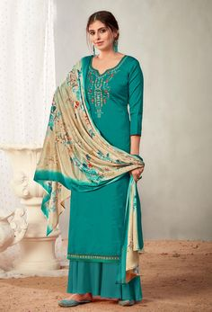 #Cotton #fabric is the #best #fabric in any #weathers, cotton #salwar #kameez is the best choice for any #girls or #womens, #Nikvik is the #bestseller of cotton salwar #suits in #USA #AUSTRALIA #CANADA #UAE #UK Cotton Salwar Kameez, Pakistani Salwar Kameez, Pakistani Suits, Sharara Suit, Pakistani Dresses, Salwar Suits, Sea Green Color, Palazzo Suit, Green Suit
