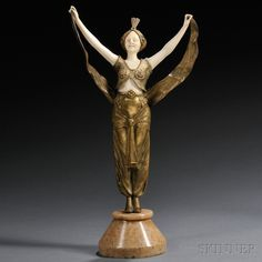 After Georges Omerth (French, fl. 1895-1925)       Bronze and Ivory Figure of an Exotic Dancer