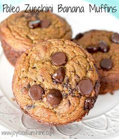 Paleo Zucchini Banana Muffins! An amazing way to start your day right! Paleo, gluten free and dairy free!