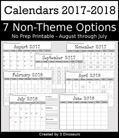7 Non-Themed Calendars for August 2017-July 2018 with tracing, dot the number, coloring, writing and tracing - 3Dinosaurs.com