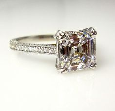3.31ct Estate Vintage Asscher Square Emerald Cut Diamond EGL Solitaire Engagement ring Ring, Anniversary Ring , Wedding Ring in 18k Gold